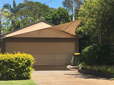 High quality shade sail over driveway